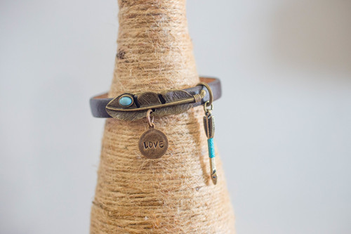 Love Bracelet  with Feather charm