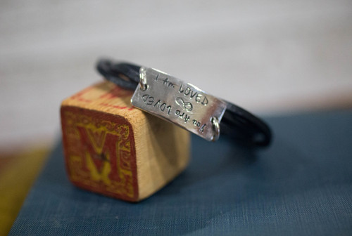I am/ You are Loved Leather Reflection Bracelet