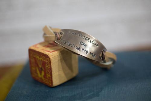 I am/ You are Priceless Leather Reflection Bracelet