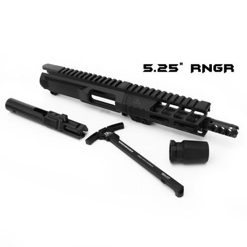 "Custom 5.5"" 9mm Complete Upper - Aero Upper, 5.5"" Ballistic Advantage Barrel, RNGR 5.25"" Handguard, Muzzle Brake"