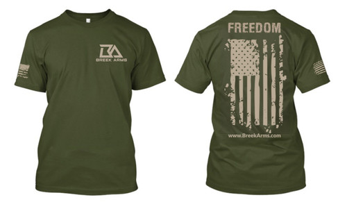 Breek Arms Military Green Freedom/Flag T Shirt - 60/40 Blend