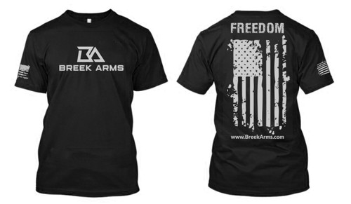 Breek Arms Black Freedom/Flag T Shirt Middle Logo - 60/40 Blend
