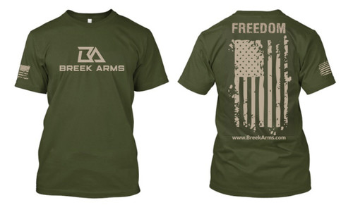 Breek Arms Military Green Freedom/Flag T Shirt Middle Logo - 60/40 Blend