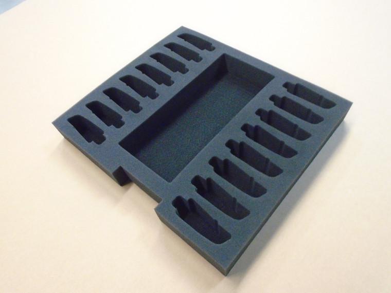 Custom 2-RU Foam Insert for 16-Pack Sennheiser G4 Wirleess IEM Belt Pack Kit
