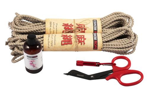 Mini standard hemp rope starter kit (2 x 30ft, oil)