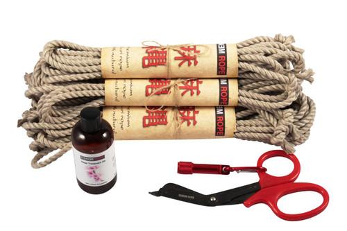 Midi standard hemp rope starter kit (2 x 30ft, 2 x 10ft, 1 x 15ft, oil)