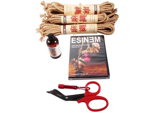 Midi Budget jute rope starter kit (4 x 10m, 1 x 4m, oil)