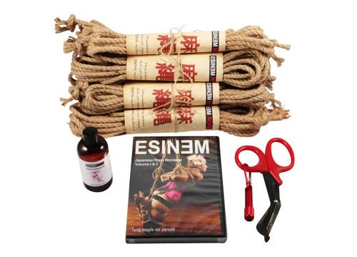 Maxi Budget jute rope starter kit (8 x 8m, 1 x 4m), oil)