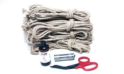 Maxi newaza jute rope starter kit (8 x 8m, 1 x 4m, oil)