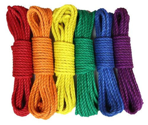 Set of 6, colours of the rainbow dyed 6mm jute shibari rope, single yarn, 10m