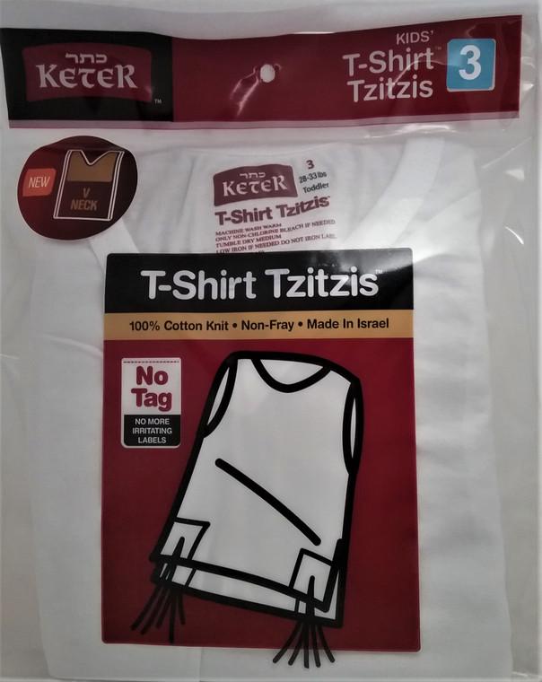 Tzitzis - T-Shirt - Children's  - V-NECK - Keter