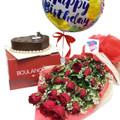 24 Red Roses Heart Cake Birthday Package