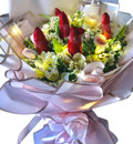 Fairy Lights Tulips, Roses & Lilies Bouquet