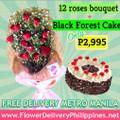 Dozen Roses & Regular Black Forest Cake Package