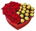 12 Roses & 12 Ferrero Heart Box