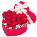 12 red Ecuadorian roses in a heart box