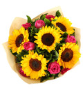 12 Pink Roses & 5 Sunflowers Bouquet