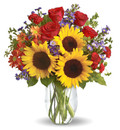 12 Red Roses & 3 Sunflowers Bouquet
