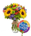 3 Sunflowers, Mums and Happy Bday Balloon