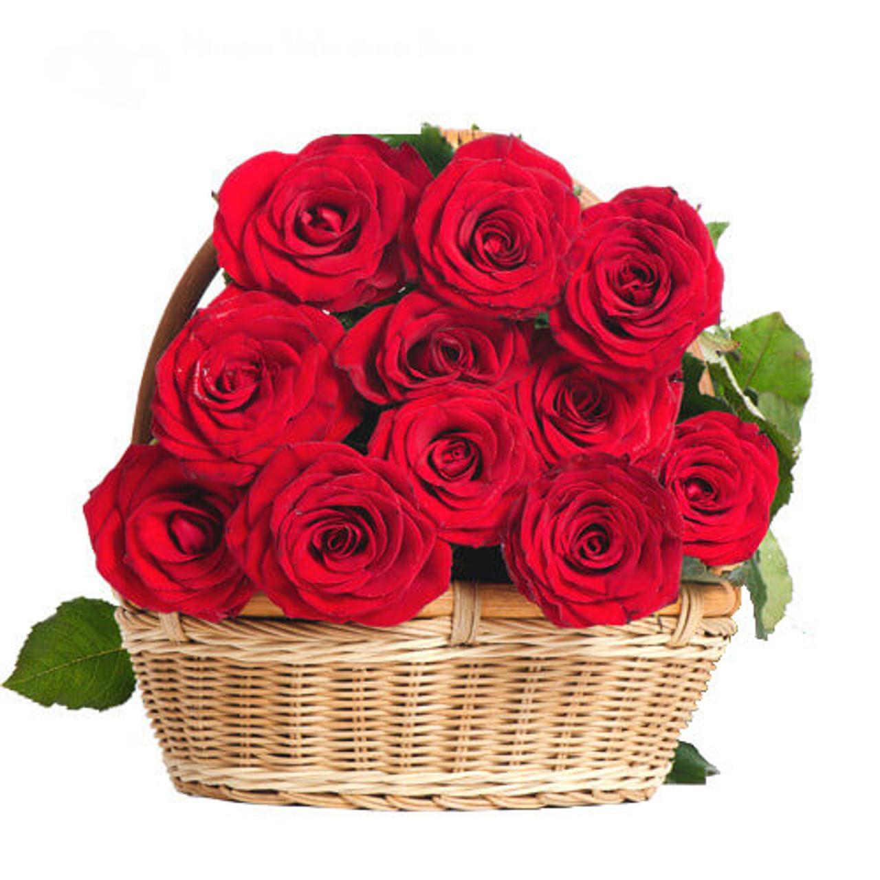 10 Red Ecuadorian Roses Basket