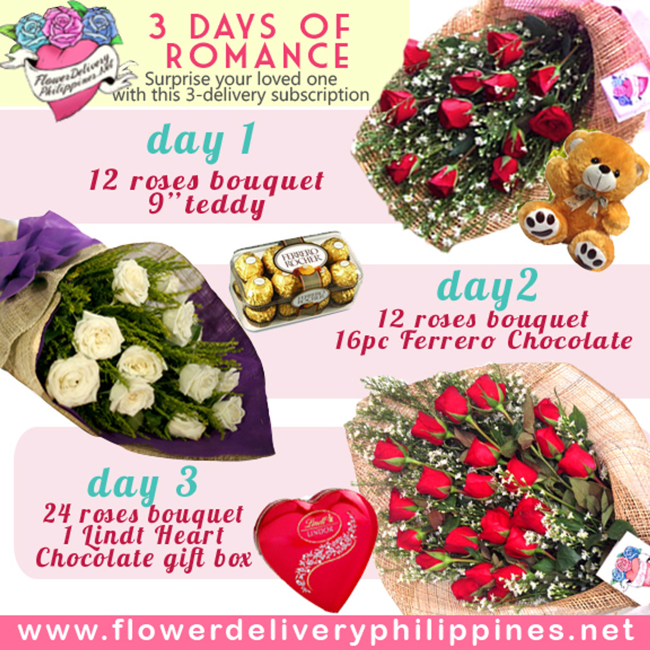 Three days of romance Flowers & Gifts Subscription