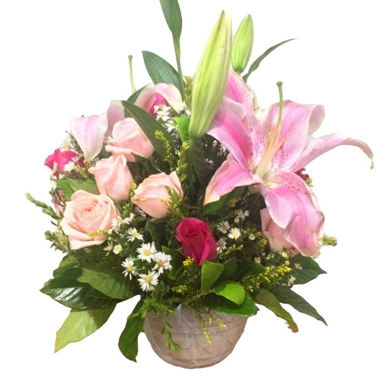 12 Roses with Stargazer and Peruvian lilies a Terra Cotta vase