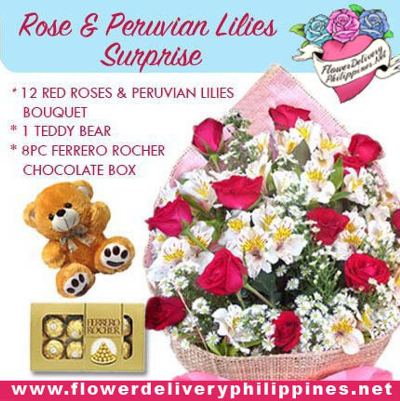 Rose and Peruvian Lilies Surprise