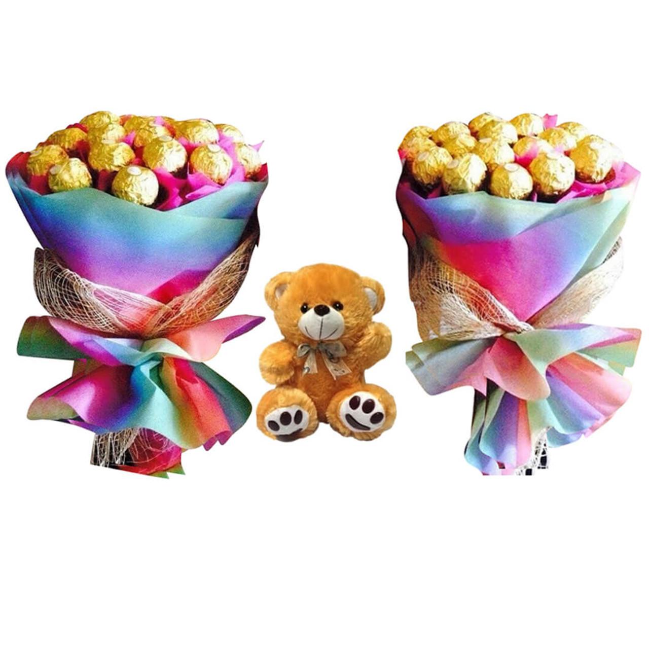 Ferrero Bouquets & Teddy Bear Package