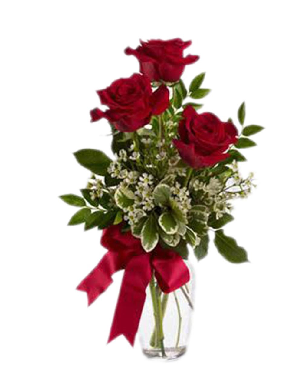 3 Red Ecuadorian Roses bouquet