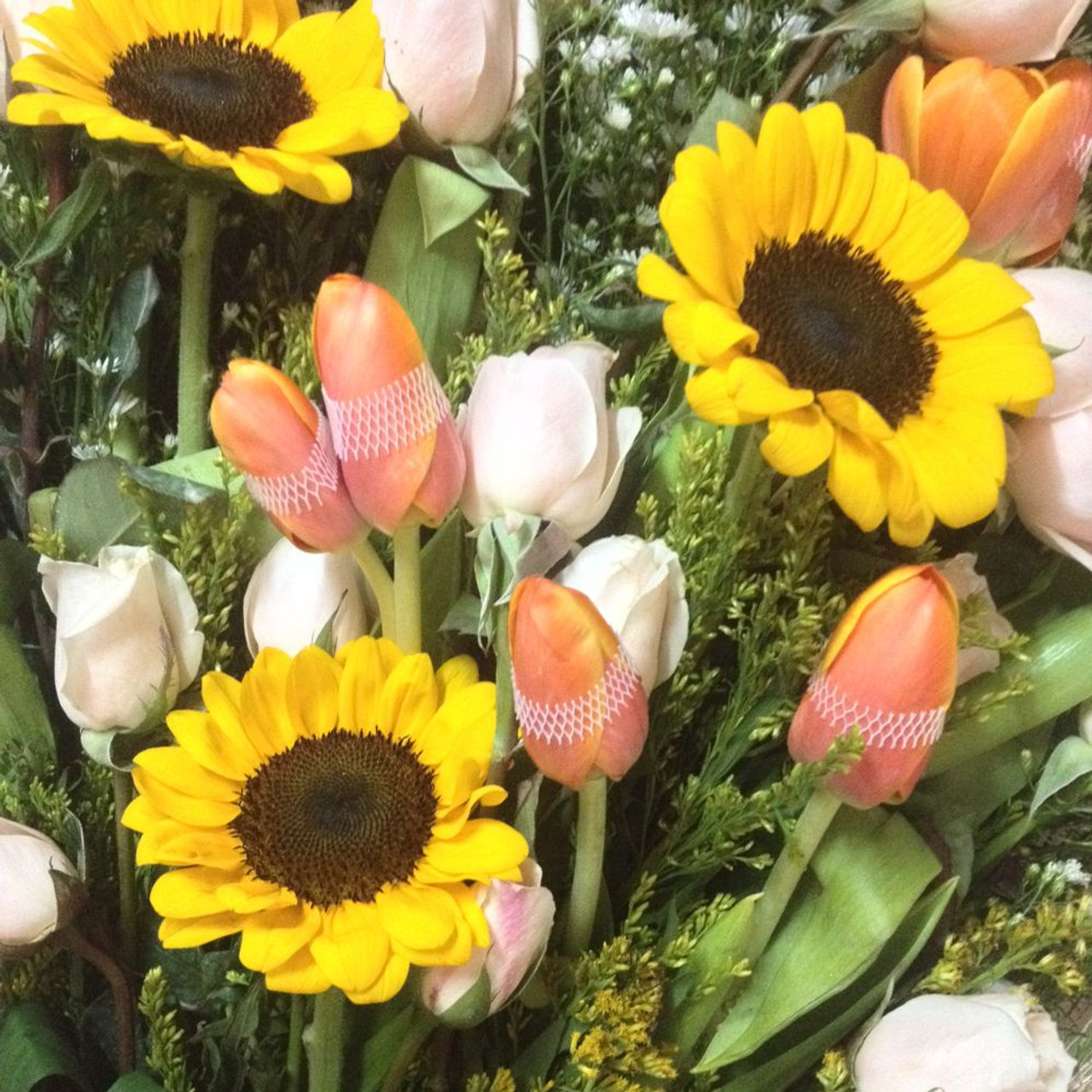 12 Roses, 3 Sunflowers & 4 Tulips Bouquet