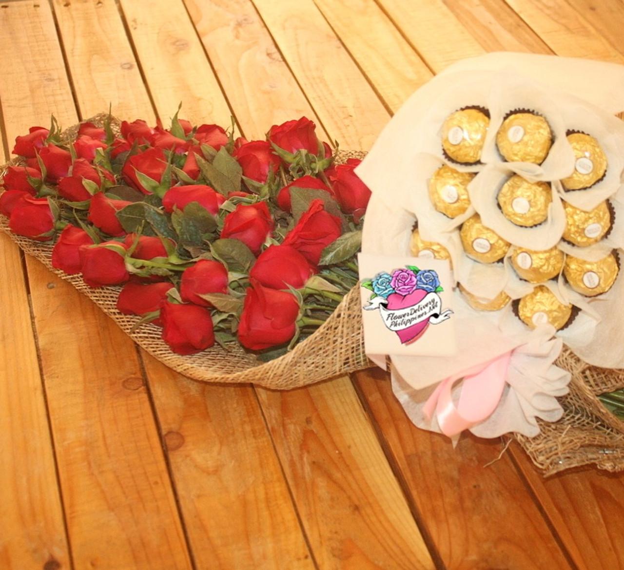 12 Roses Bouquet & 12 Ferrero Bouquet