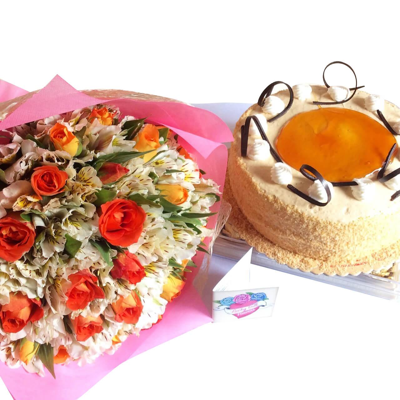 12 Korean Roses Lilies bouquet & Dulce de Leche Cake