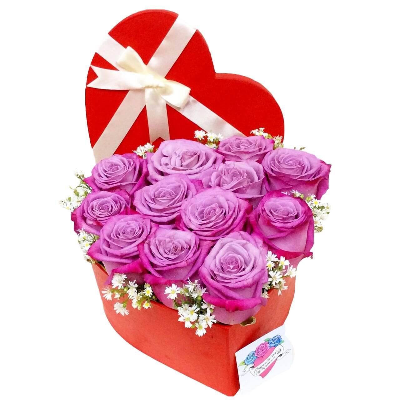 12 Purple Ecuadorian Roses Heart Box