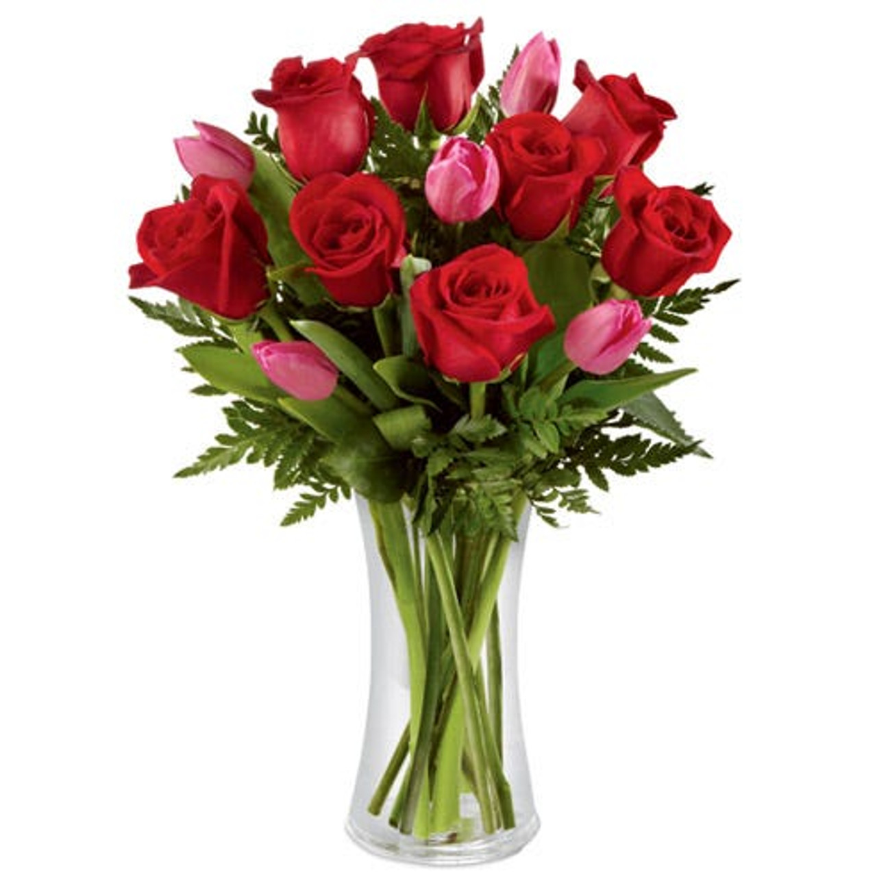 12 Red Roses & 5 Pink Tulips Bouquet