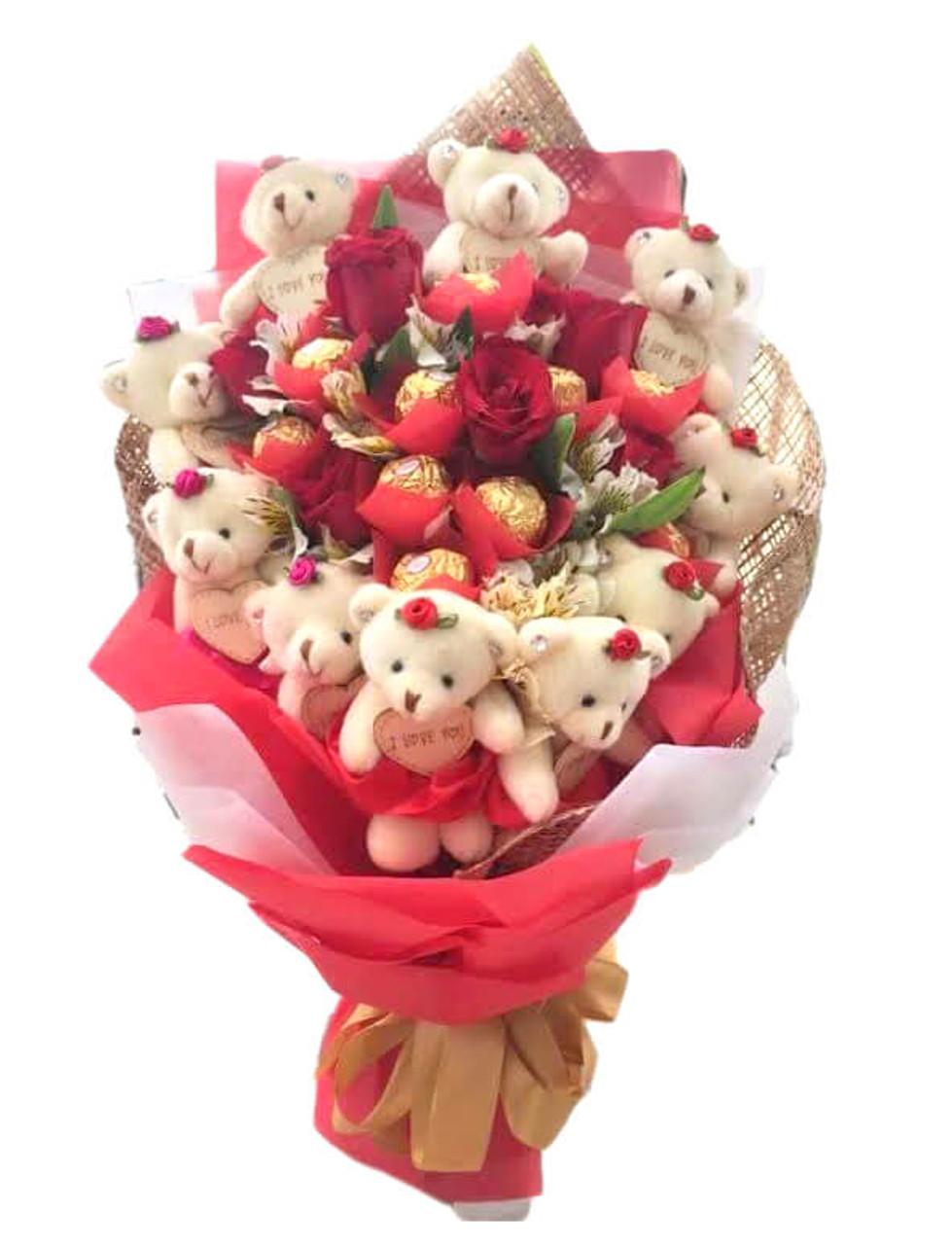 12 Roses, 12 Teddy Bears & 8 Ferrero Bouquet - Best Seller!