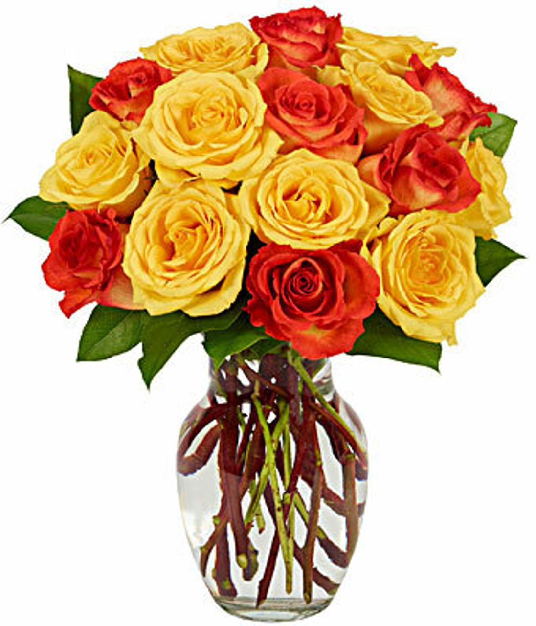 Orange & Yellow Ecuadorian Roses Bouquet