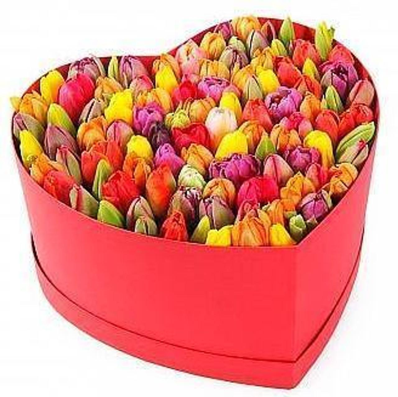 40 Rainbow Tulips Love Box