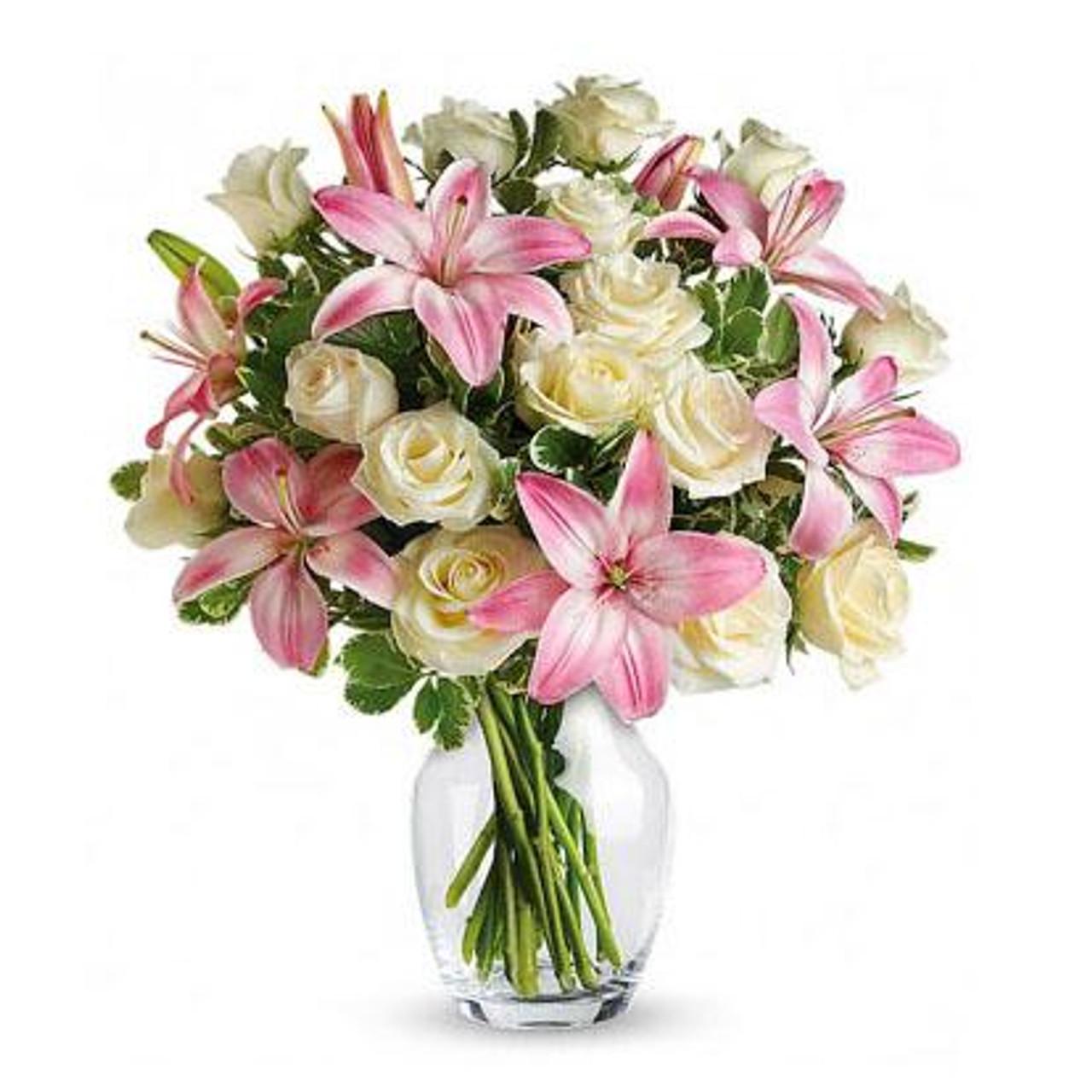 White Roses & Stargazer Lilies Bouquet