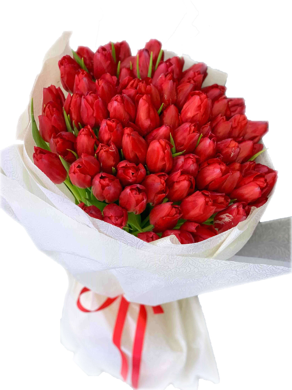 50 Red Tulips Giant Bouquet