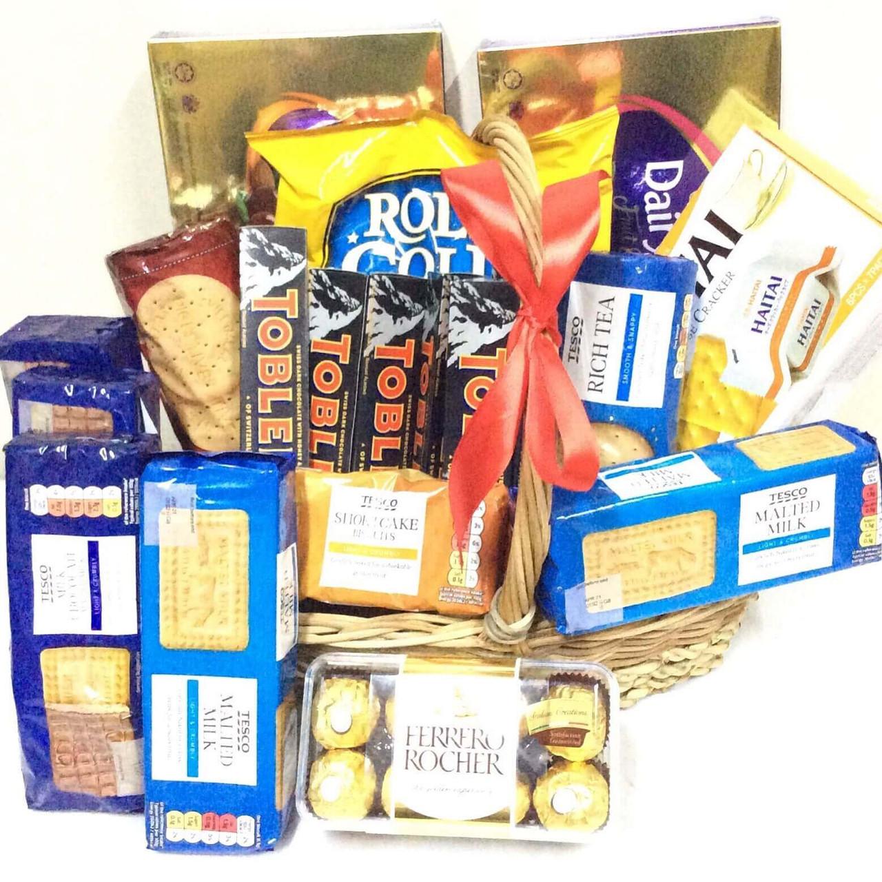 Chocolate Snacks & Cookies Overload Basket