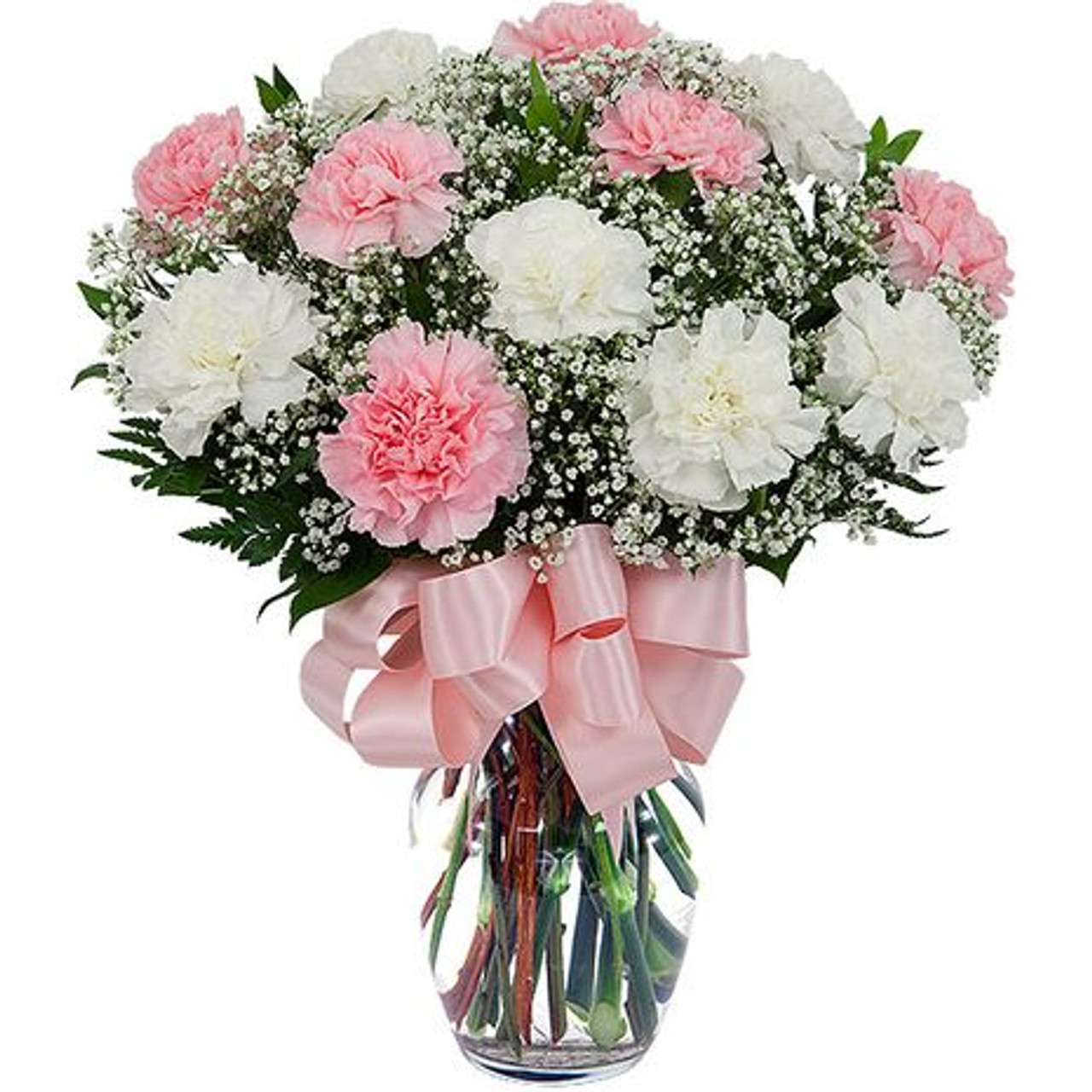 White and Pink Carnations Bouquet