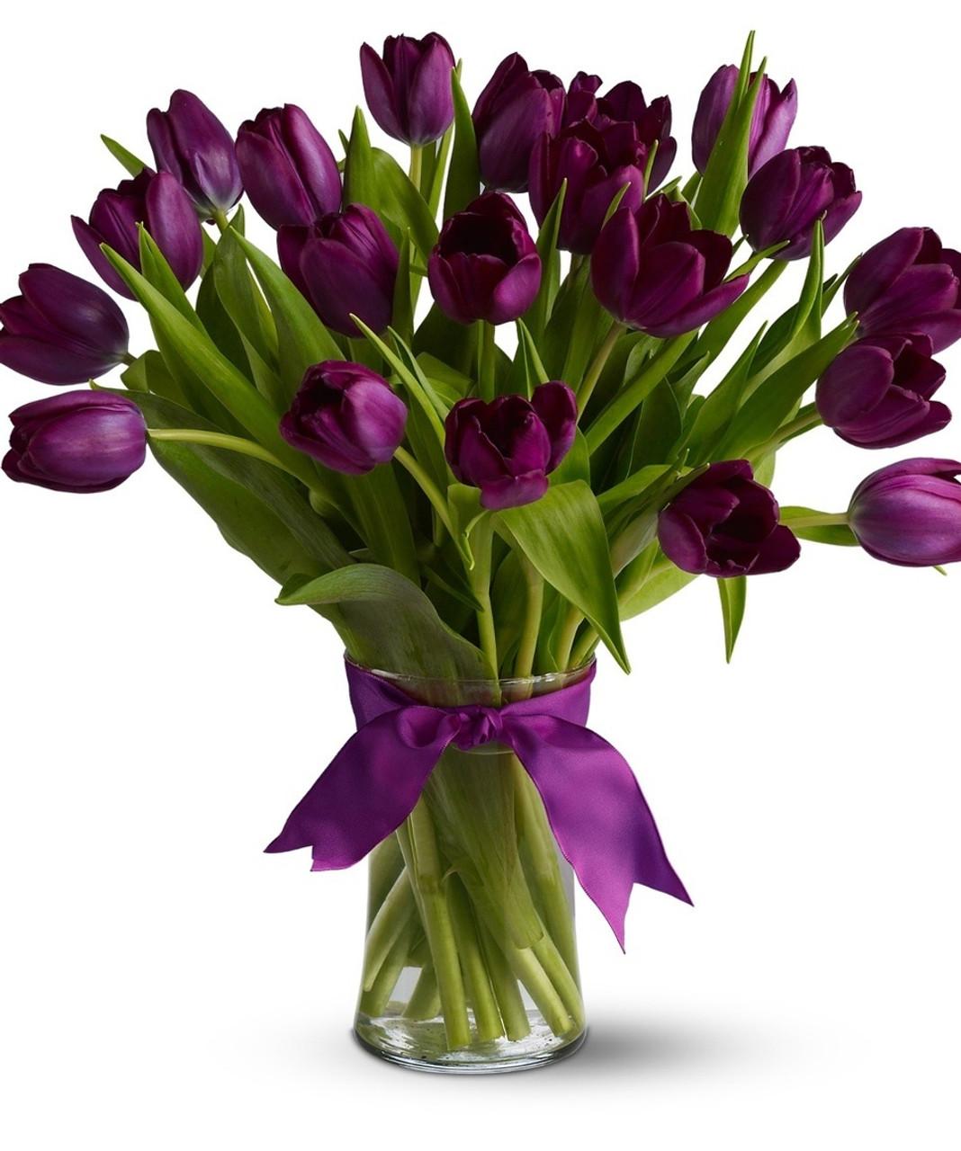 20 Violet Tulips Bouquet