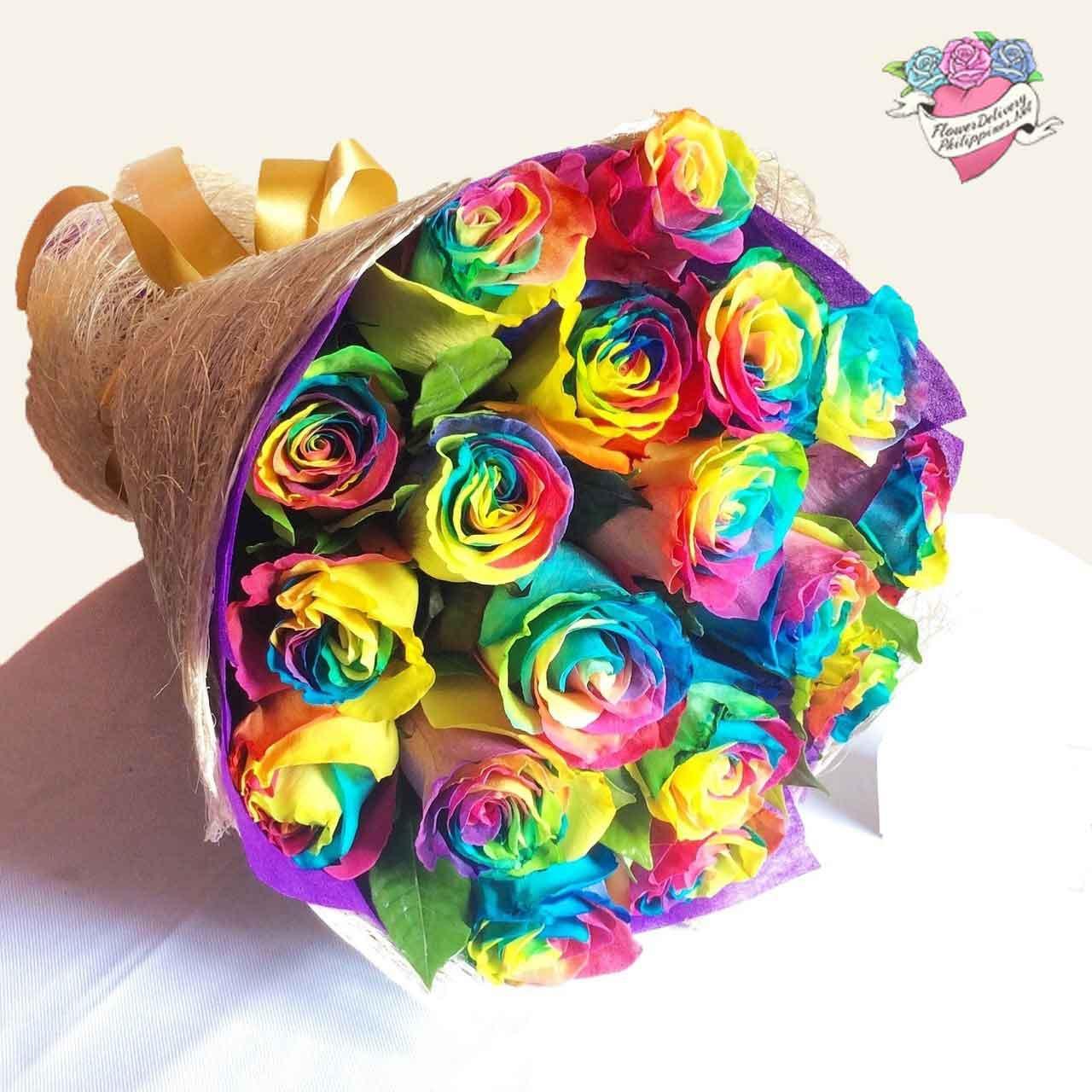 12 Rainbow Ecuadorian Roses