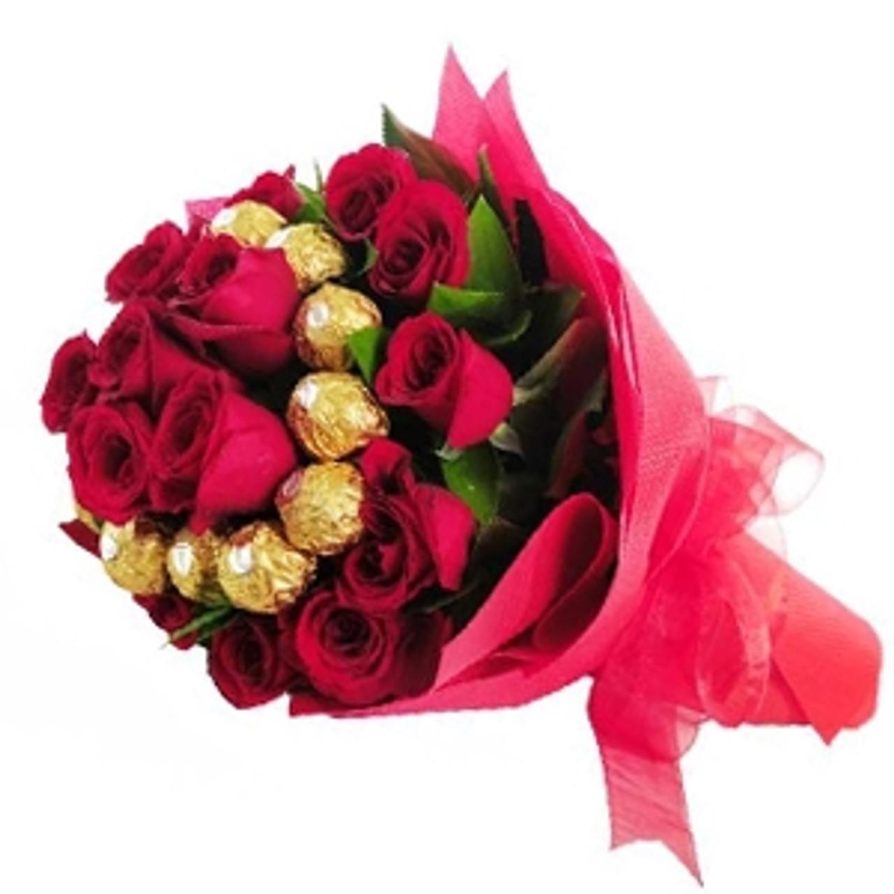 20 XL Roses & 10 Ferrero Bouquet