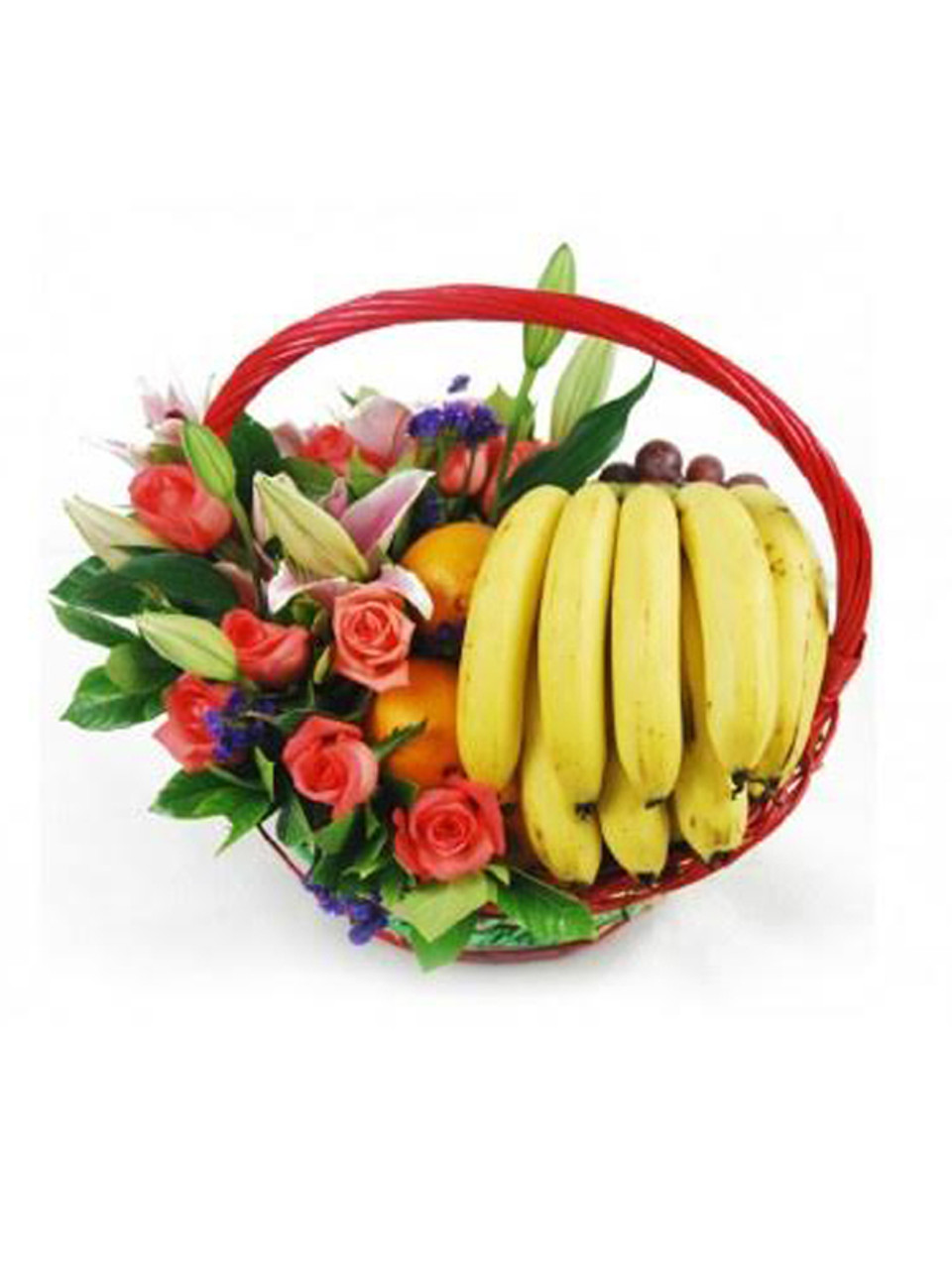Pomelo Roses, Lilies & Fruit Basket