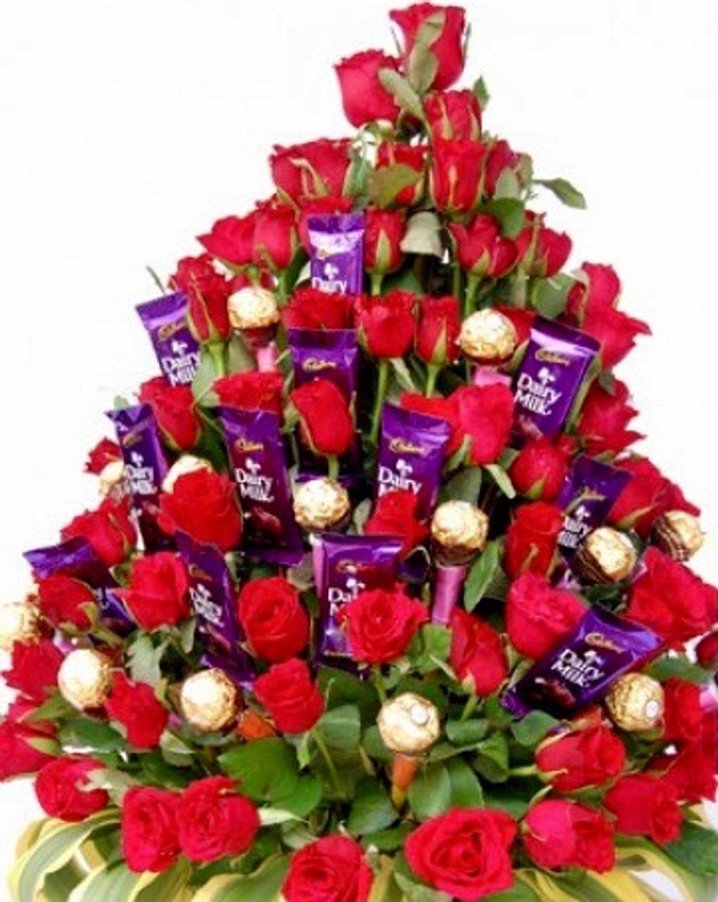 48 Roses Cadbury-Ferrero Bouquet