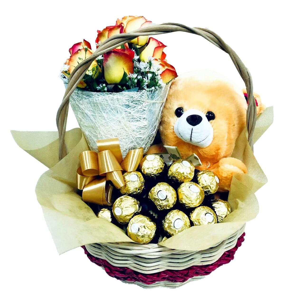 Korean Roses Gold Basket