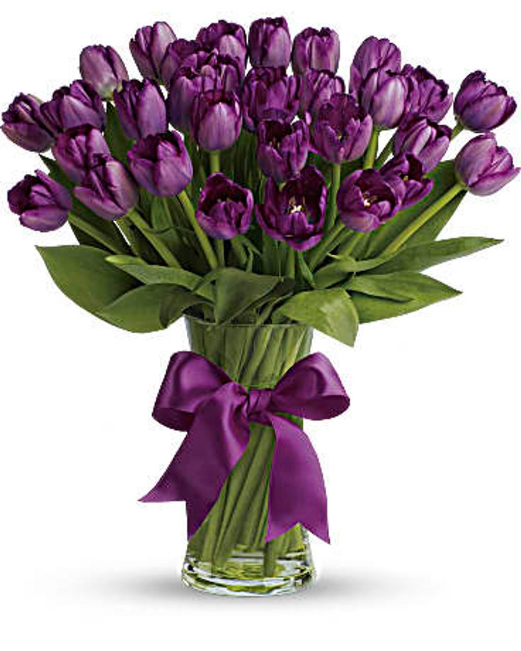 30 Violet Tulips Bouquet
