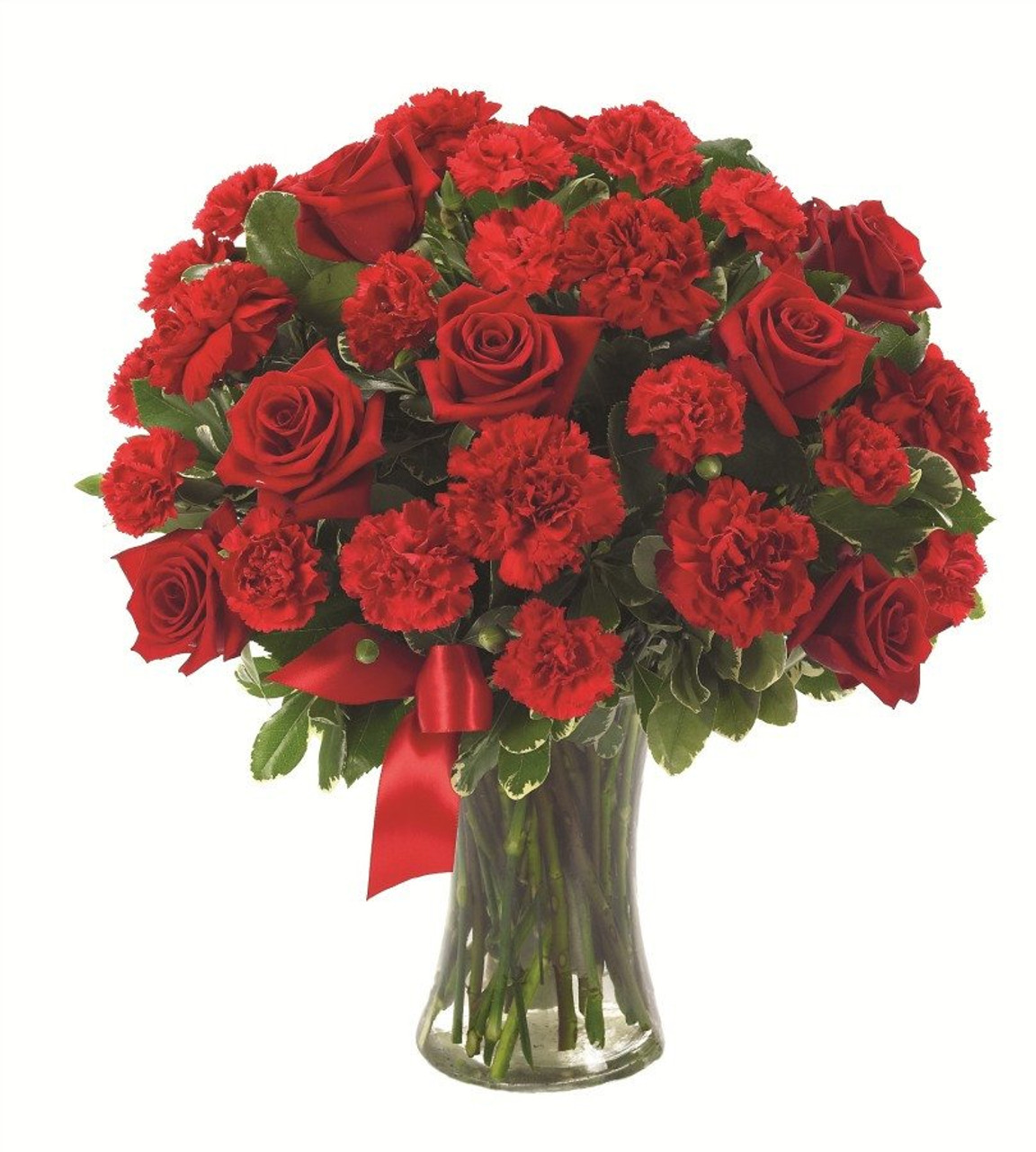 20 Red Carnations & 12 Red Roses Bouquet
