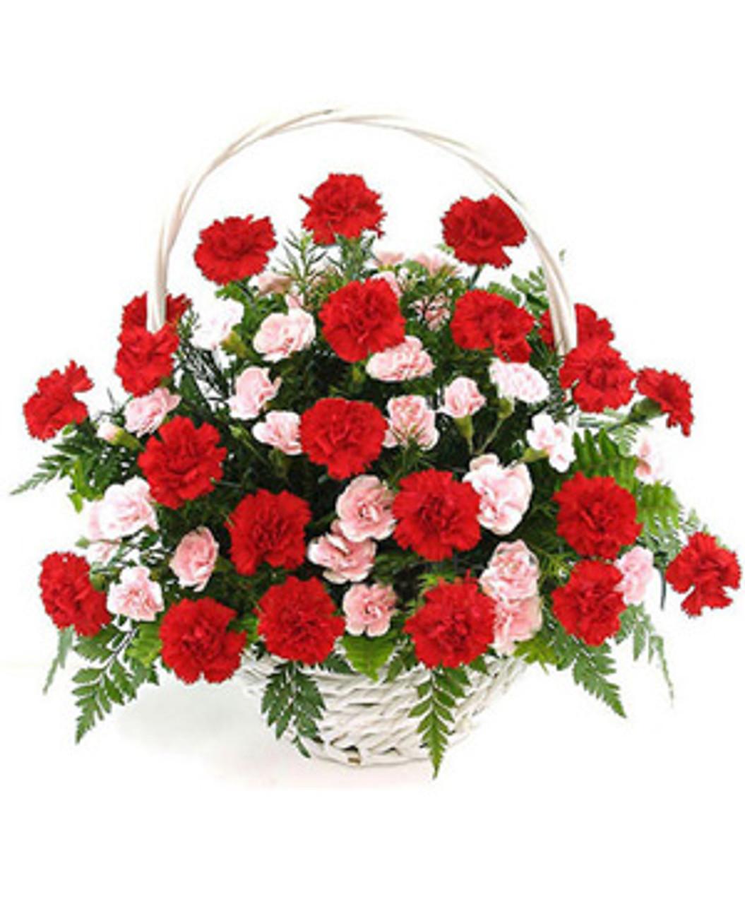 30 Pink & Red Carnations Basket